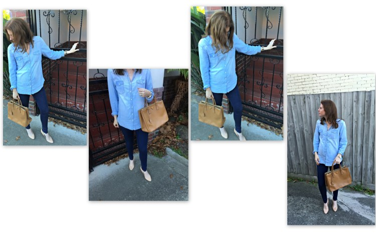 Shirt: Cotton on, Jeans: Pea In a Pod Maternity, Heels: (old) Similar style here, Bag: Prada